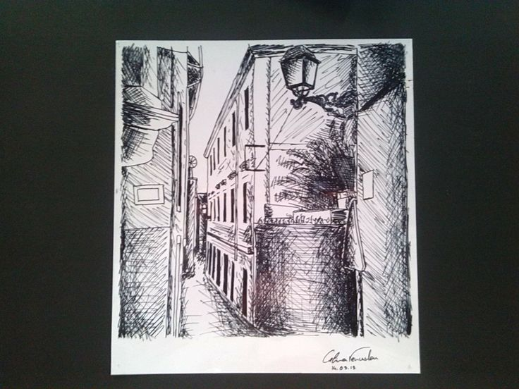 Quick sketch made with acetate pen in acetate of Leiria's street | 2013