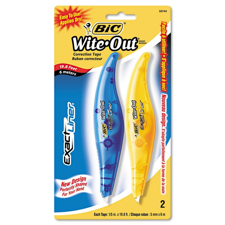 """BIC Wite-Out Exact Liner Correction Tape, 1/5"""" x 236"""", Blue/Orange, 2/Pack"""