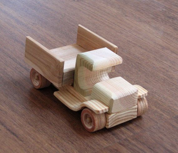 Wendy the vintage car - old style wooden toy pickup truck, natural finish, for kids and toy collectors