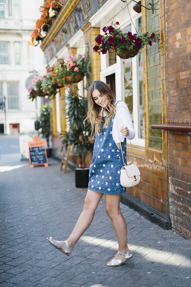 Silver Salt-Water Sandals look great with bare legs and a pretty pinafore! In this pic, What Olivia Did wore them sightseeing on a citybreak round Cardiff... Salt-Water sandals at home in the city as well as the seaside!