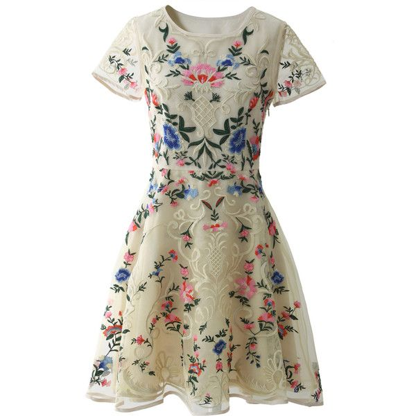 Chicwish Garden Embroidered Beige Organza Dress ($68) ❤ liked on Polyvore featuring dresses, vestidos, beige, formal wear dresses, multi colored dress, beige dress, multi colored formal dresses and multicolor dress