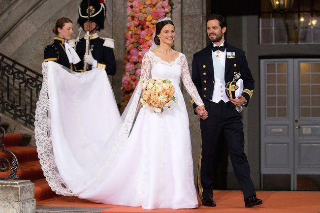 Sofia Hellqvist trug zur Hochzeit mit Prinz Philip von Schweden ein Brautkleid von Jose Maria Ruiz. Juni 2015