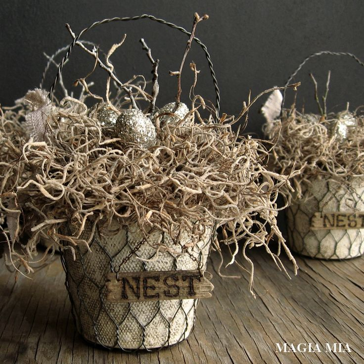 Magia Mia: Rustic Elegant Nest Baskets with Peat Pots & Chicken Wire, Spanish Moss, Twigs, Silver German Glass Glitter Eggs, Wood-Burned Nest Sign