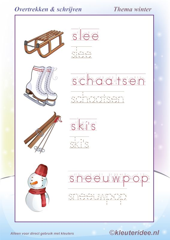 Overtrekken en schrijven, thema winter , juf Petra van kleuteridee, writing winter words free printable.