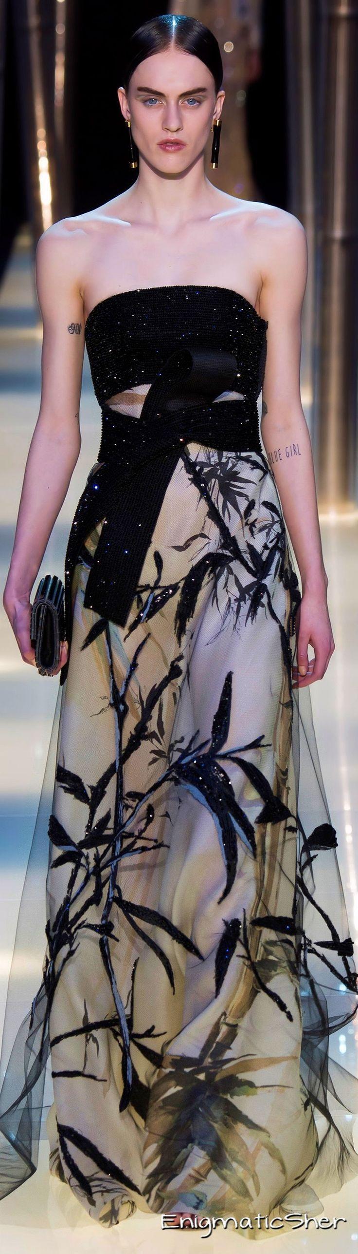 Georgio Armani Prive ~ Haute Couture Summer Sleeveless Black + White Gown 2015