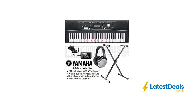 Yamaha Keyboard including AC Adapter, Stand, Headphones and Free Online Lessons, £199.99 at Amazon