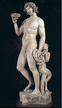 Baco, (Dionísio) por Michelangelo, Museu Nacional do Bargello, Florença