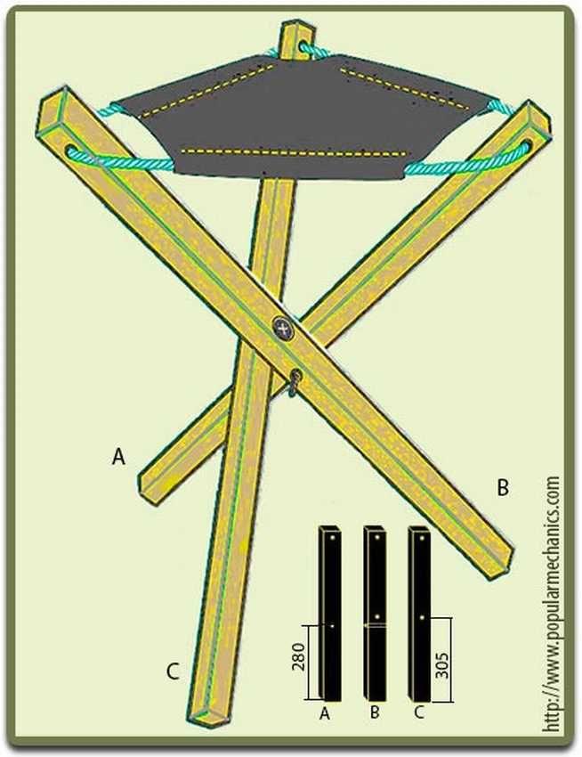 Схема стульчик для рыбалки своими руками