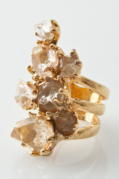 Rimma Ring With Herkimer Diamond Quartz in 24k Gold Plated by Soo