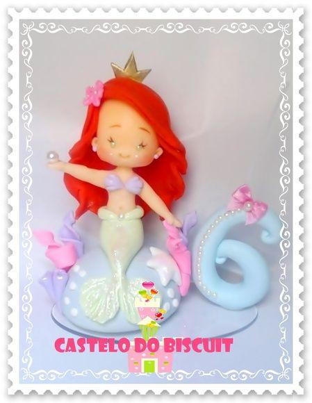 Topo de bolo Ariel com vela