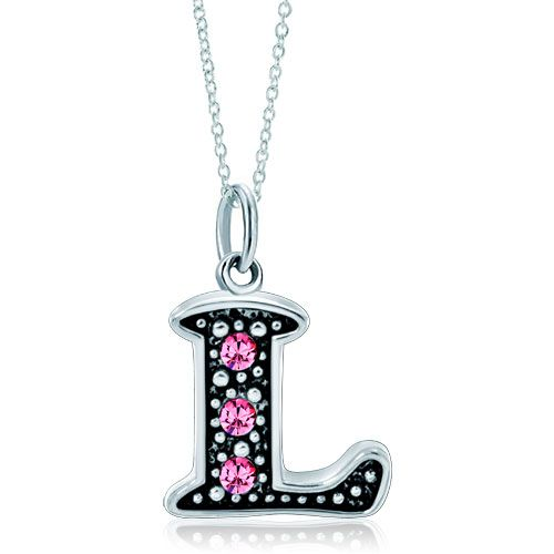 925  Sterling Silver Rose Pink Crystal Diamond Accent Letter L Link Charm For Charms Bracelet