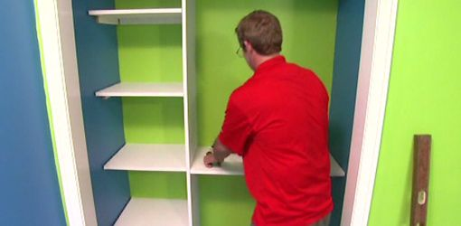 """How to Build Closet Shelving for Your Home class - use this method for the kids' closet reading nook """"shelf""""?"""