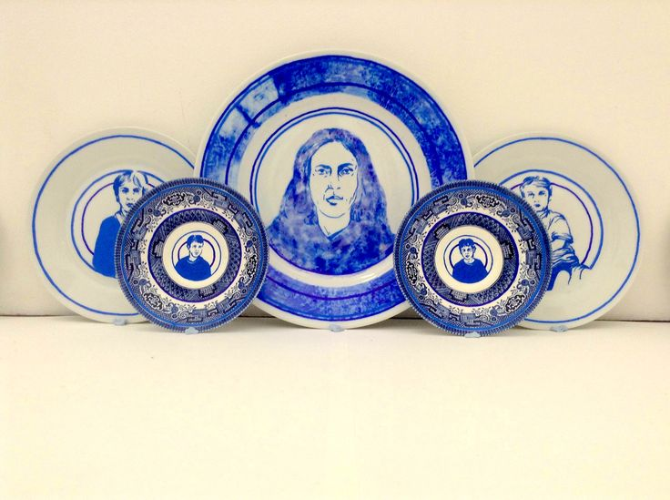 AS Fine Art and History of Art student, Molly - final portrait plate designs, drawn with a sharpie onto found plates.