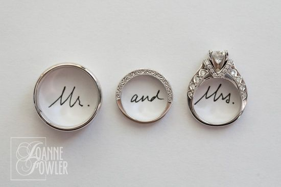 cute idea for front of wedding photo book. Except switch engagement and wedding ring.