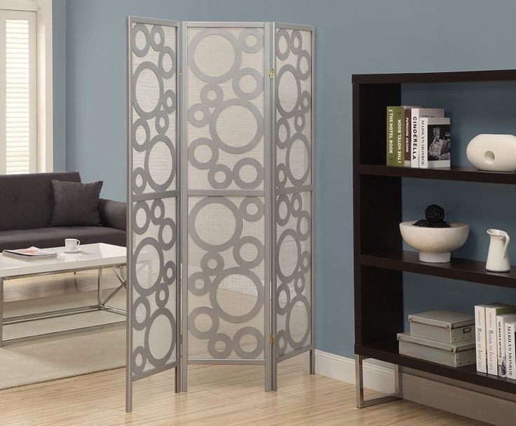 Monarch Specialties Folding screen room dIVider V 3 Panel Folding Screen Room Di Silver Home Decor Accents Room Dividers