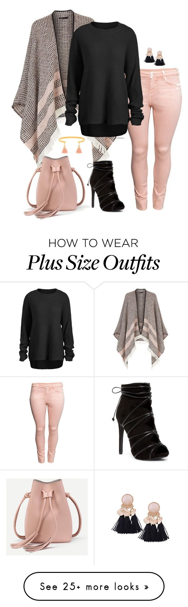 """Peaches for free- plus size"" by gchamama on Polyvore featuring Maje, H&M and Five and Two"