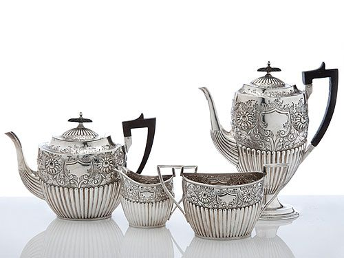 Antique Silver Teaware, silver tea sets, Victorian tea and coffee sets, silver cream and sugar  Amazing $12k
