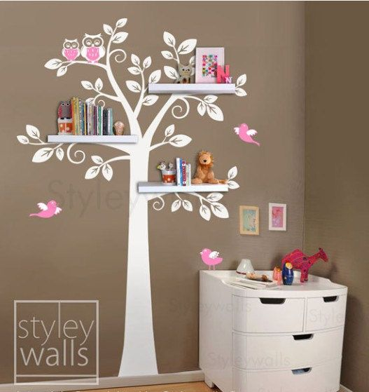 children shelf tree with birds Vinyl Wall Decal owls leaf leaves owl mamma trees Sticker baby room sticker house Home Murals stikers kid K12 on Etsy, 54,75 €