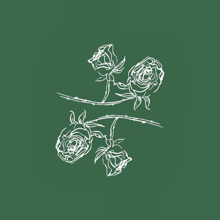 🌹 #botanicalpickmeup #floralart #floralillustration #whiteongreen #rose #minimalillustration #lineart #paperfortdesigns