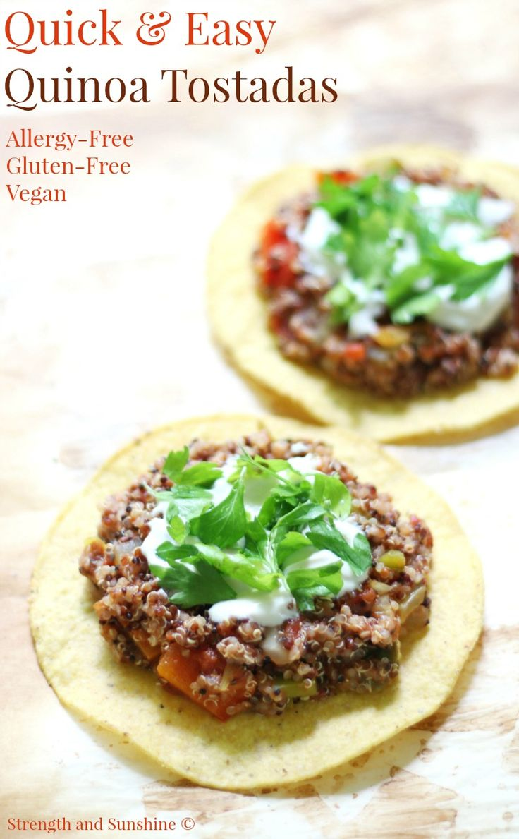 Quick & Easy Quinoa Tostadas (Gluten-Free, Vegan) | Strength and Sunshine @RebeccaGF666 Mexican made easy! These Quick & Easy Quinoa Tostadas are gluten-free, vegan, and top 8 allergy-free! A great family-friendly & meatless weeknight dinner recipe you can have on the table in 15 minutes from start to finish. #tostadas #mexican #glutenfree #vegan #strengthandsunshine