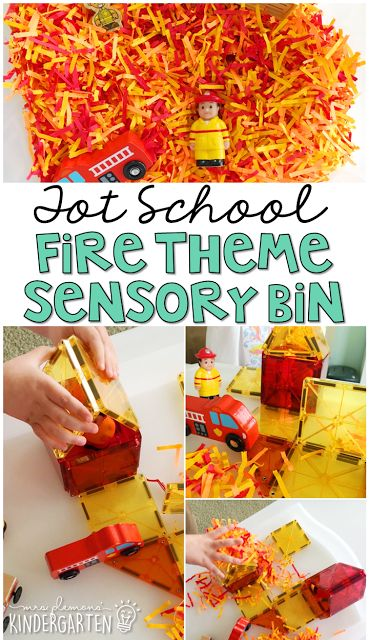 This fire themed sensory bin was fun for little hands to explore. Perfect for a community theme in tot school, preschool, or the kindergarten classroom.