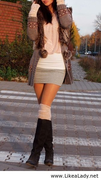 Women style clothing fashion outfit mini skirt cardigan wrist warmers boots socks spring autumn Really like this