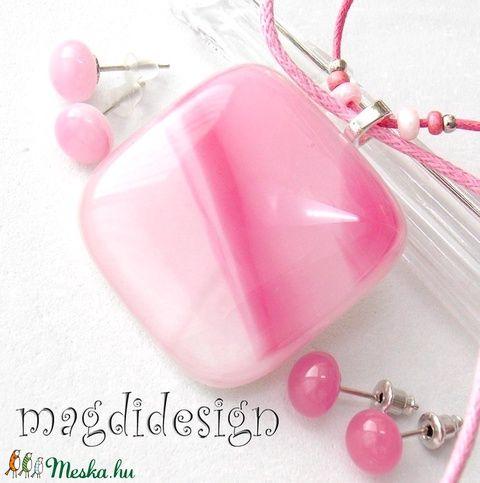 Málnás rózsaszín üvegékszer szett, nyaklánc, 2 pár fülbevaló (magdidesign) - Meska.hu