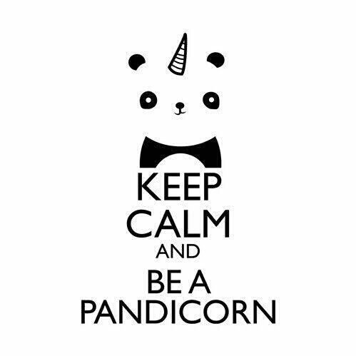 black, keep calm, panda, unicorn, white, pandicorn