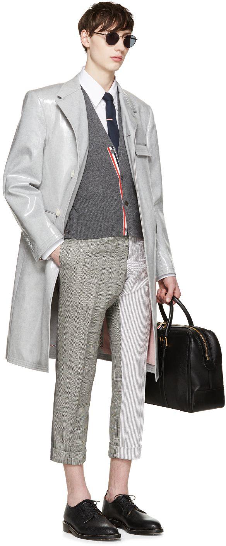 Thom Browne: Grey Slim Funmix Trousers | SSENSE