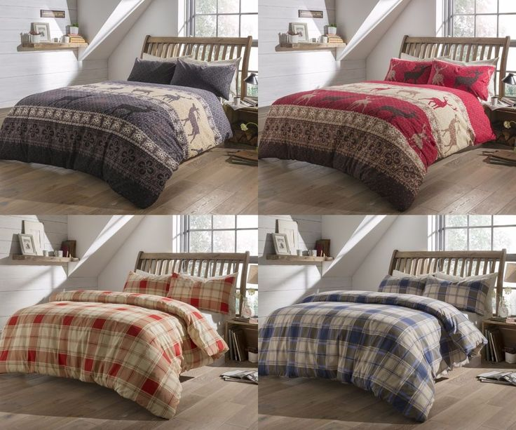 Flannelette Duvet Cover Set Pillow Case 100% Brushed Cotton Bedding