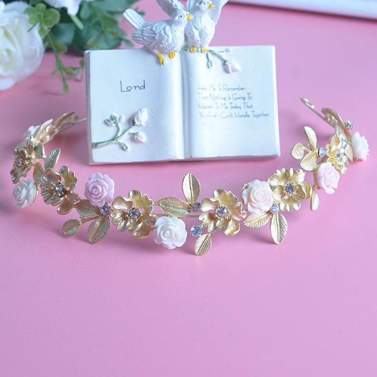 New Coming Bride Headdress Retro Hair Jewelry Gold Plated Leaf Rhinestone Flower Crown Women Wedding Accessories