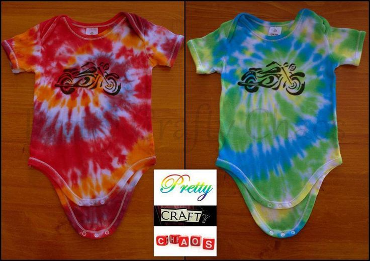 Hand dyed & Drawn by Pretty Crafty Chaos Motorbike Tie Dyed onsies.