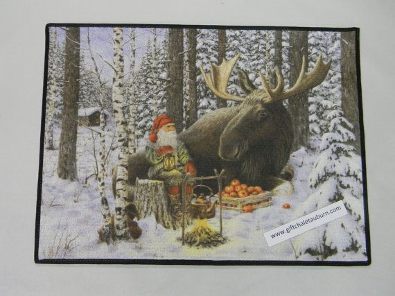 Scandinavian Swedish Gnome Tomte and Moose Rug by GiftChaletAuburn