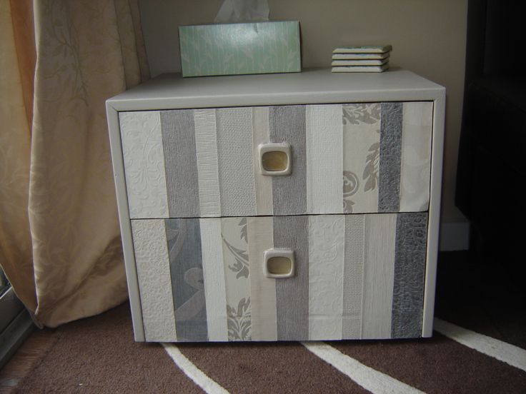 probably wasn't the best piece of furniture to renovate  as its just chipboard, but it was a $5 piece I got from  the recycle shop, painted it and decoupaged the drawer fronts with wallpaper strips, still pleased with the overall end product.