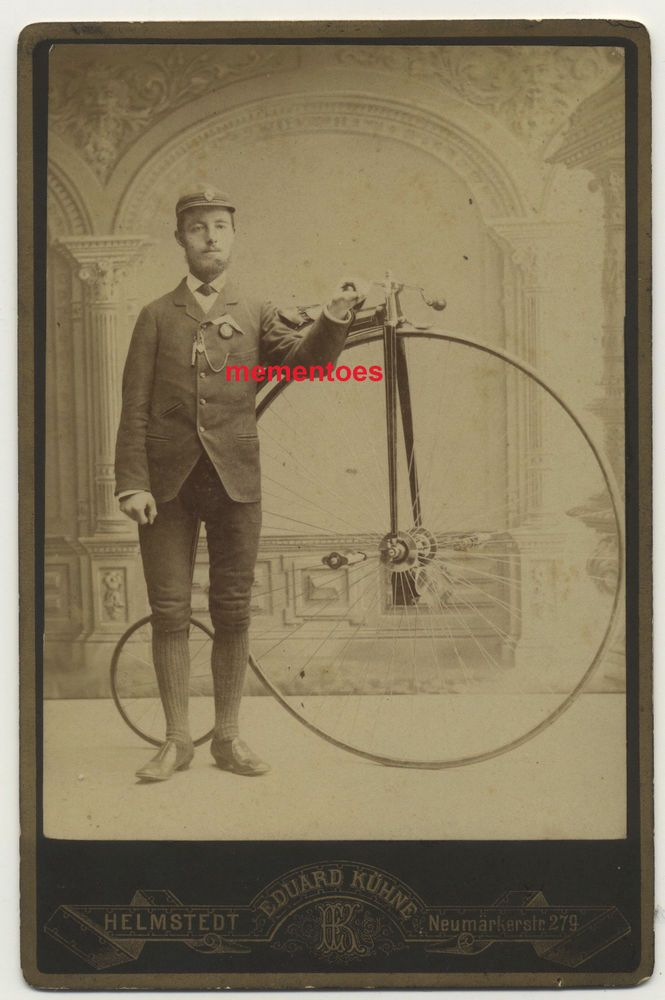 Penny Farthing Bicycle Cycling Uniform & Whistle Victorian Bike c1880 Cabinet