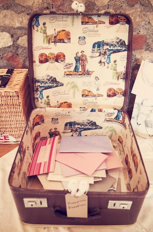 Suitcase setup for 40's themed wedding