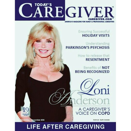 Loni Anderson on cover of Today's Caregiver Magazine. www.caregiver.com