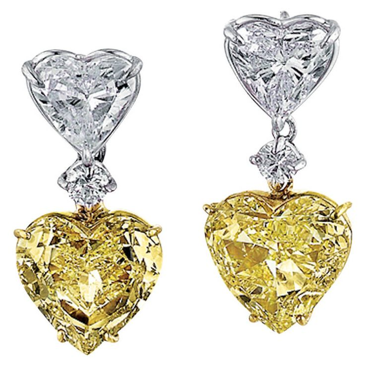 White and Fancy Yellow Heart-Shaped Diamond Earrings | From a unique collection of vintage dangle earrings at https://www.1stdibs.com/jewelry/earrings/dangle-earrings/