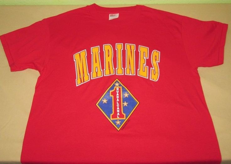 Vntg 90s 1996 USMC US MARINE CORPS  T Shirt Sz L -  Red - GUADALCANAL 50/50 #Hanes #GraphicTee