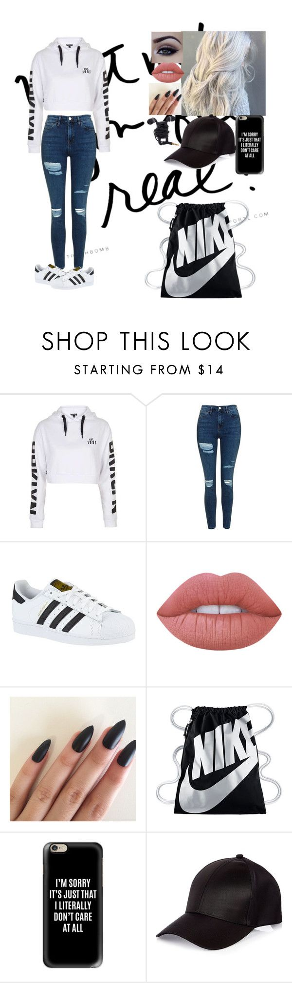 """""""Untitled #307"""" by chansoo ❤ liked on Polyvore featuring Topshop, adidas, Lime Crime, NIKE, Casetify and River Island"""