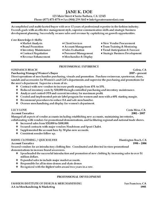 Purchasing Fashion Resumes Sample Resume Resume