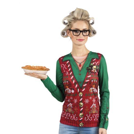 Carnavalskostuum kerstprint dames shirt  Kerst shirt met lange mouwen met een fotoprint aan beide zijden van een ouderwetse kerstgilet met blouse. Materiaal: 100% polyester.  EUR 29.95  Meer informatie