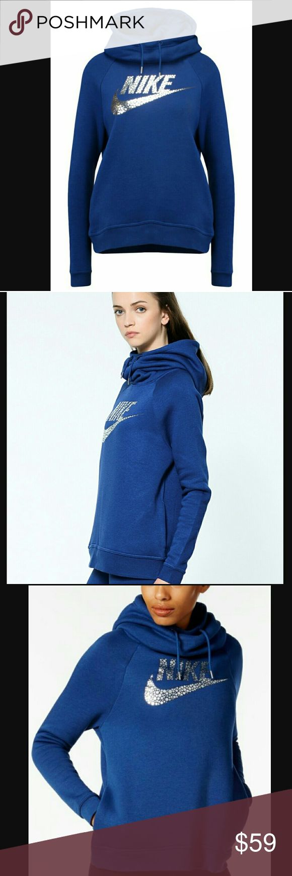New Nike Metallic Swoosh Hoodie New Nike Metallic Swoosh Hoodie. Super-deep side pockets. Funnel Neck Deep Hood with Drawstring. Beautiful, rich teal & silver metallic logo. **Stock photos included so you can see how it looks on. So Chic I can only let it go if the price is right💯💙!! Nike Tops