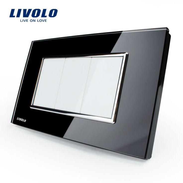 送料無料、livolo米国標準スイッチ、すべての空白ソケット、VL-C300-82、ブラッククリスタルガラスパネル