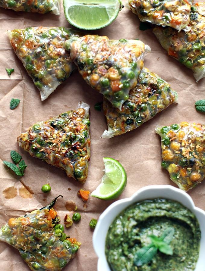 Fully Loaded Spring Samosas with sweet and spicy mint chutney  (made with rice paper!)