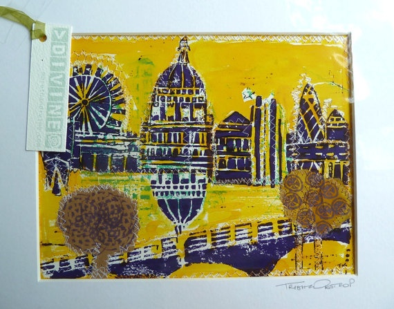 Lino ink collage and stitching  London Town by morethandivine, £20.00