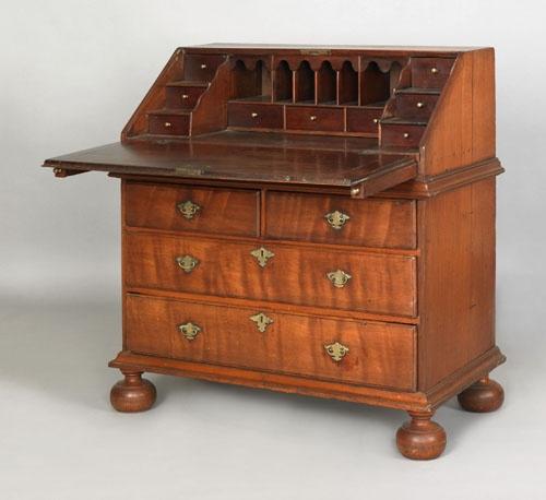Pennsylvania William Mary Walnut Slant Front Desk Ca