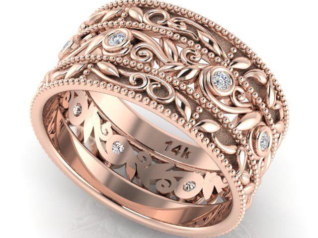 Boho Rose Gold Diamond Eternity Engagement Ring Bohemian Wedding Rustic Leaf Nature Wide Band Pinterest
