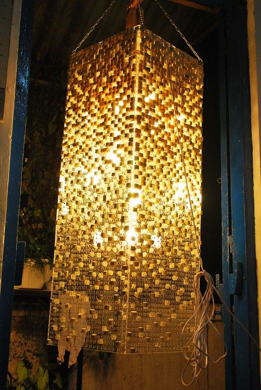 A beautiful hand crafted light fixture with recycled keyboard key-if you have the time.