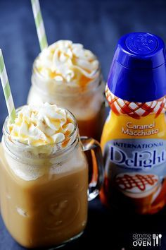 Only use cold press coffee!! This is soooo good! only 50ish calories, so it's not nearly as sweet as a frappe from Starbucks/etc…. But it totally hits the spot when you have a craving! 1 cup chilled coffee 1/4 cup caramel macchiato international delight 2 cups ice Whipped topping Caramel sauce Yum!!!!!